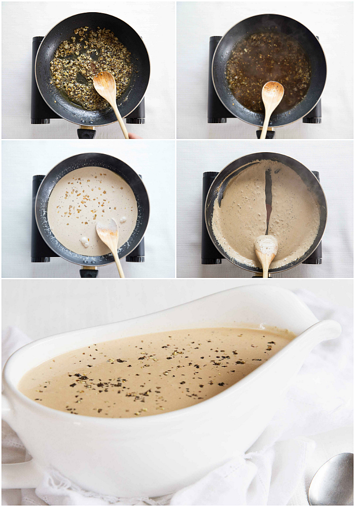 Creamy Peppercorn Sauce Process Shots