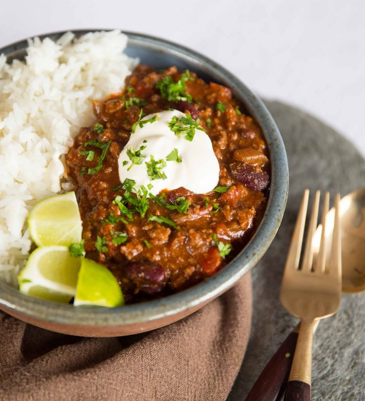 Best Chilli Con Carne served with sour cream and rice