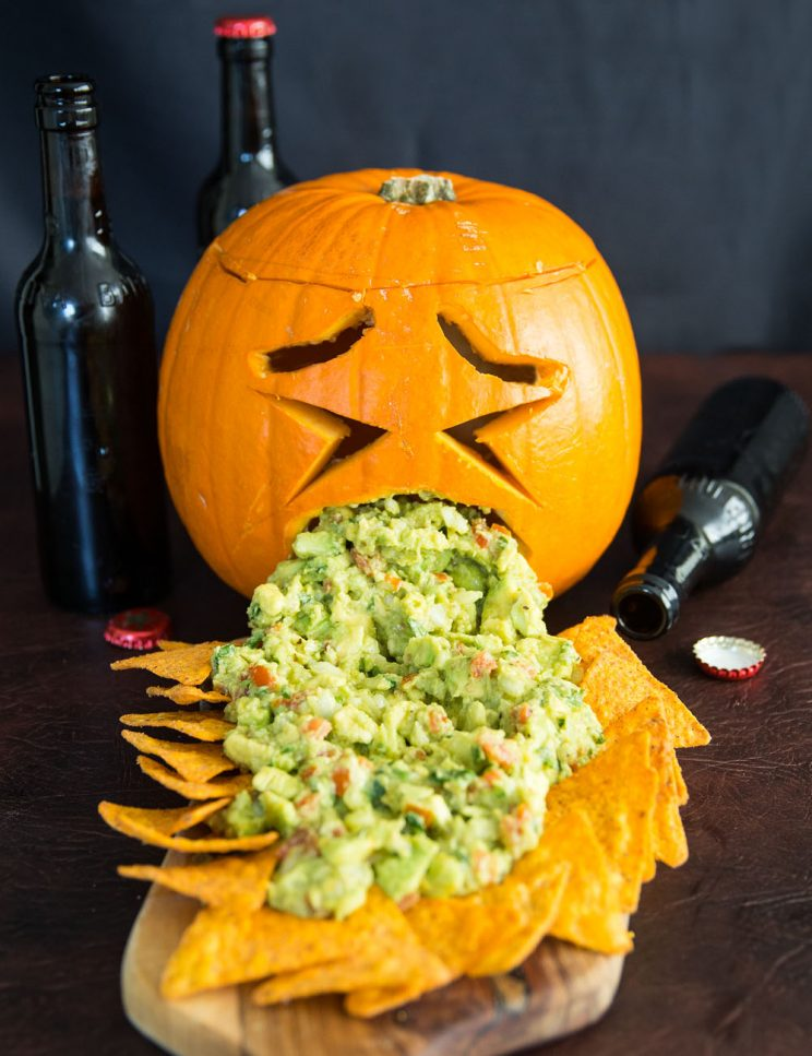 Guacamole Puking Pumpkin with tortilla chips