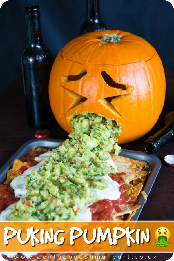 If there's one recipe you need this Halloween it's the Puking Pumpkin. Cause really, who doesn't want a pumpkin throwing up guacamole all over Halloween? #halloween #halloweenrecipe #pumpkin #pukingpumpkin | www.dontgobaconmyheart.co.uk