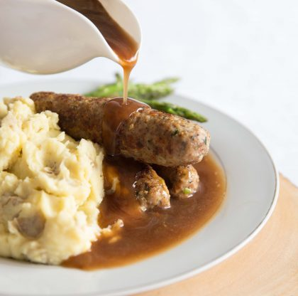 Homemade Skinless Sausages with Gravy