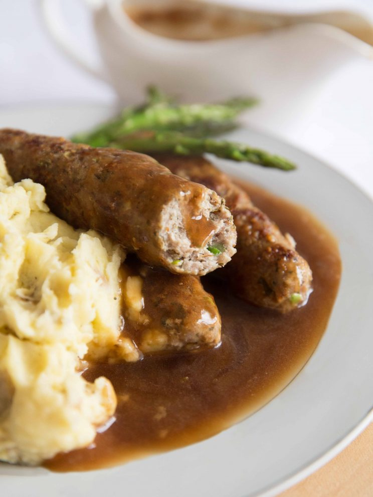Homemade Skinless Sausages with Gravy and Mash
