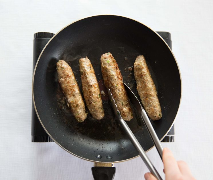 Fried Homemade Skinless Sausages