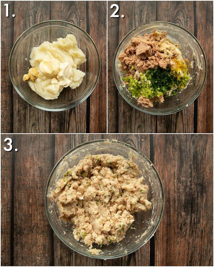 How to make tuna potato patties - 3 step by step photos