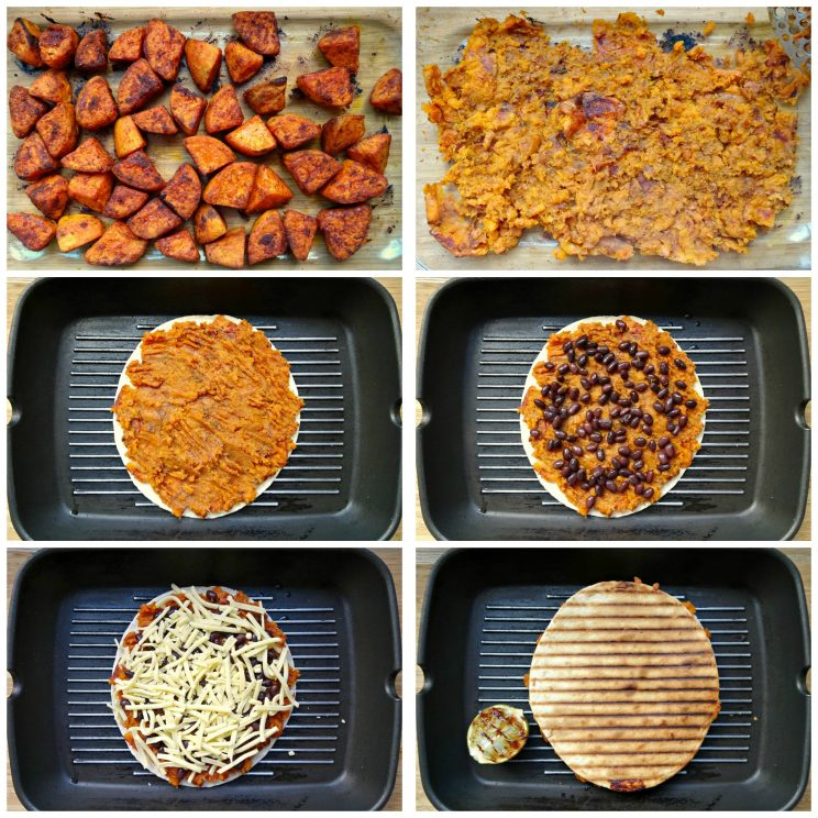 how to make sweet potato quesadillas - 6 step by step photos