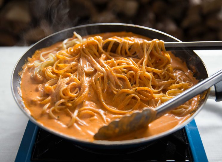Creamy Roasted Red Pepper Pasta - Stirring in Linguine