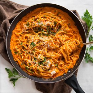 Creamy Roasted Red Pepper Pasta- Overhead Shot