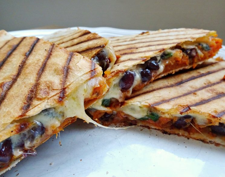 Roasted sweet potato and black bean quesadillas - closeup