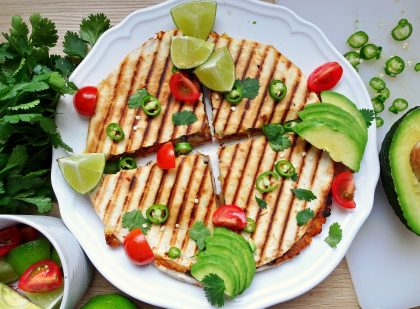 Roasted sweet potato and black bean quesadillas - overhead shot