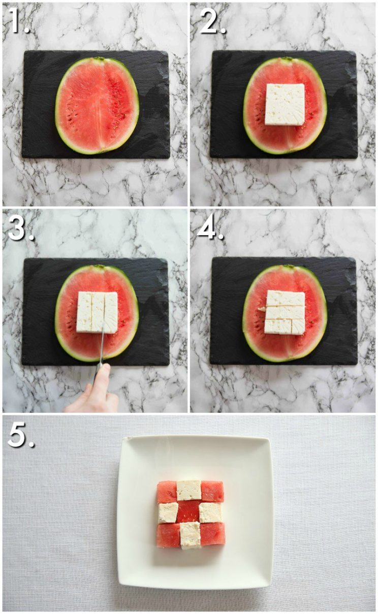 Watermelon and feta cubes - 5 step by step photos
