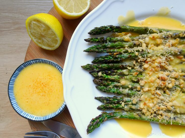 Grilled Garlic & Parmesan Asparagus with Hollandaise Sauce - sauce poured on