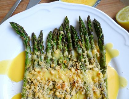 Grilled Garlic & Parmesan Asparagus with Hollandaise Sauce