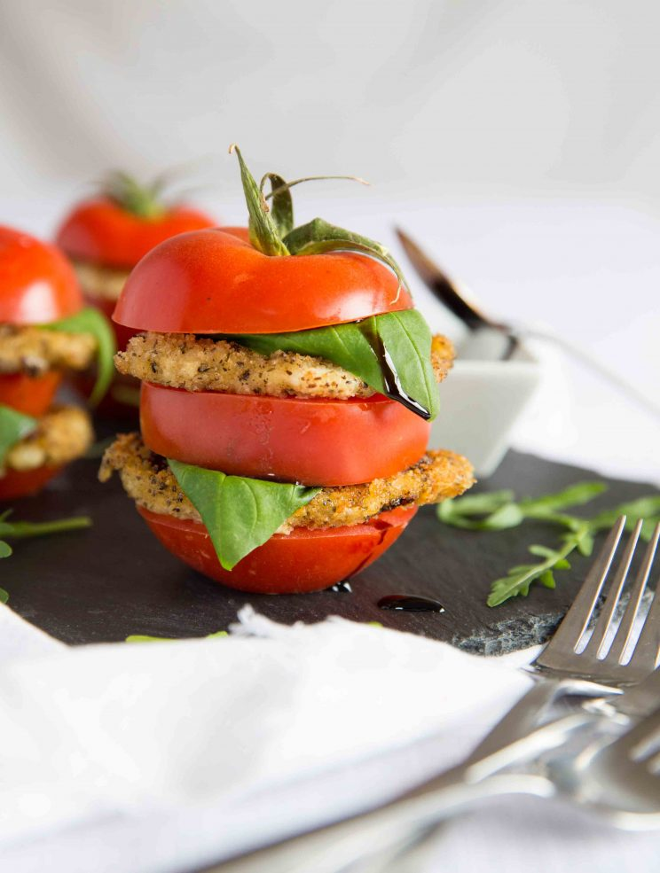 Stacked Tomato and Fried Mozzarella Salad with Balsamic Glaze