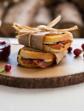 Cranberry Bacon Brie Grilled Cheese Parcels