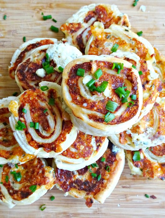 Mini Cheese and Chive Pinwheels - overhead