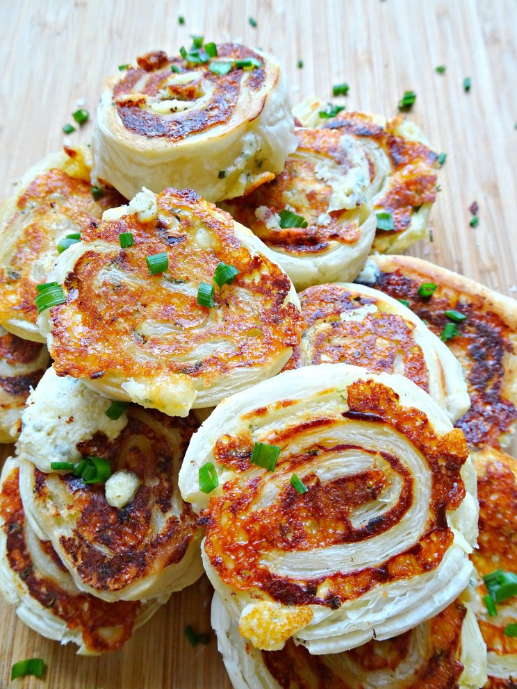 Mini Cheese and Chive Pinwheels - stacked