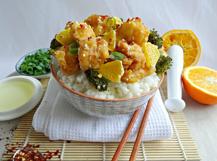 Honey Orange Chicken - overview with chilli flakes