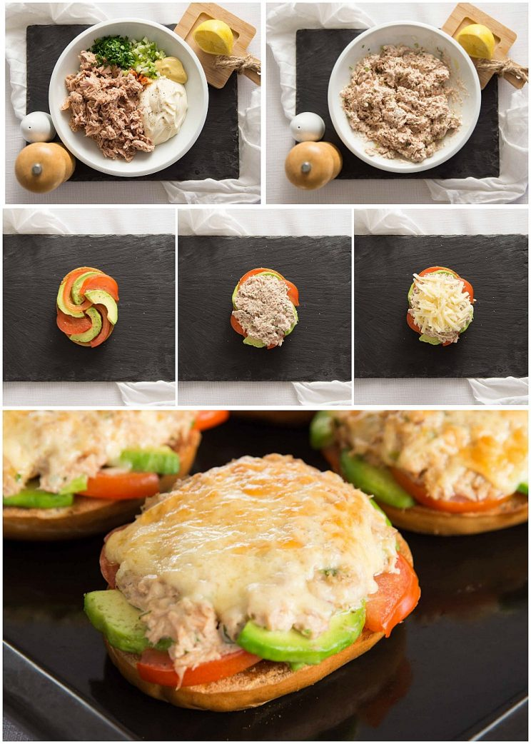 Avocado Tuna Melt Process Shots