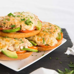 Avocado Tuna Melts stacked on a plate