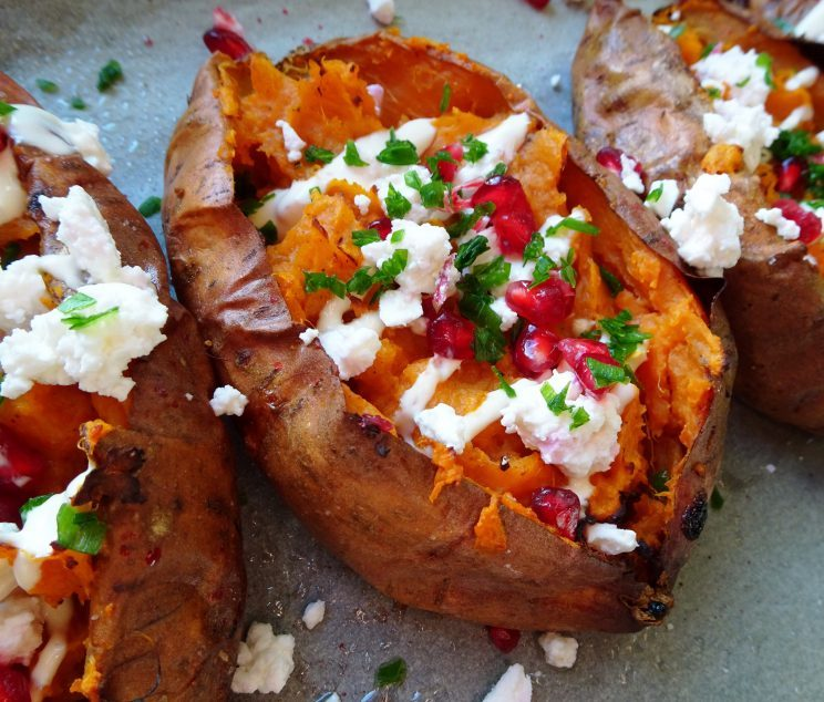 Loaded Sweet Potatoes with Pomegranate and Feta