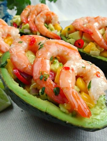Stuffed Avocado with Prawns and Mango Salsa