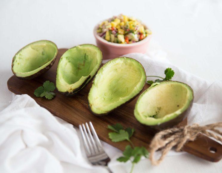 Stuffed Avocado with Prawns and Mango Salsa - Avocado Bowls
