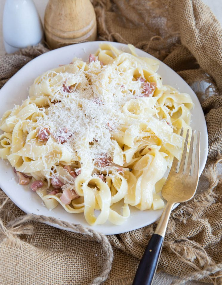 Fettuccine Carbonara no cream with parmesan sprinkled on top