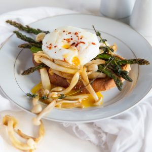 The Perfect Poached Egg - Served with Asparagus and Mushrooms on Toast