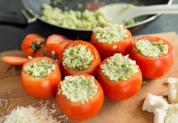 Cheesy Pesto Rice Stuffed Tomatoes - Stuffed with Rice