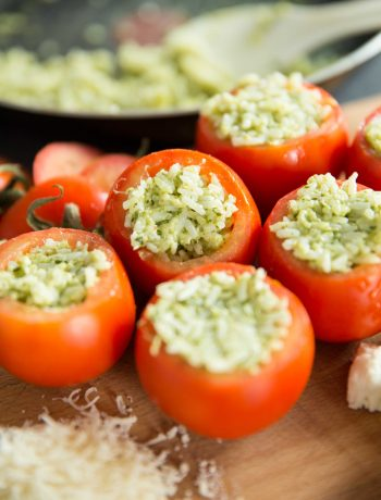 Cheesy Pesto Rice Stuffed Tomatoes