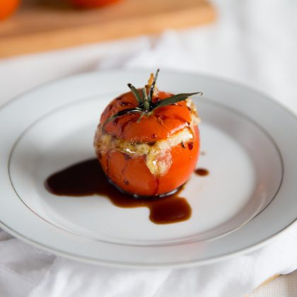 Cheesy Pesto Rice Stuffed Tomatoes - with Balsamic Glaze