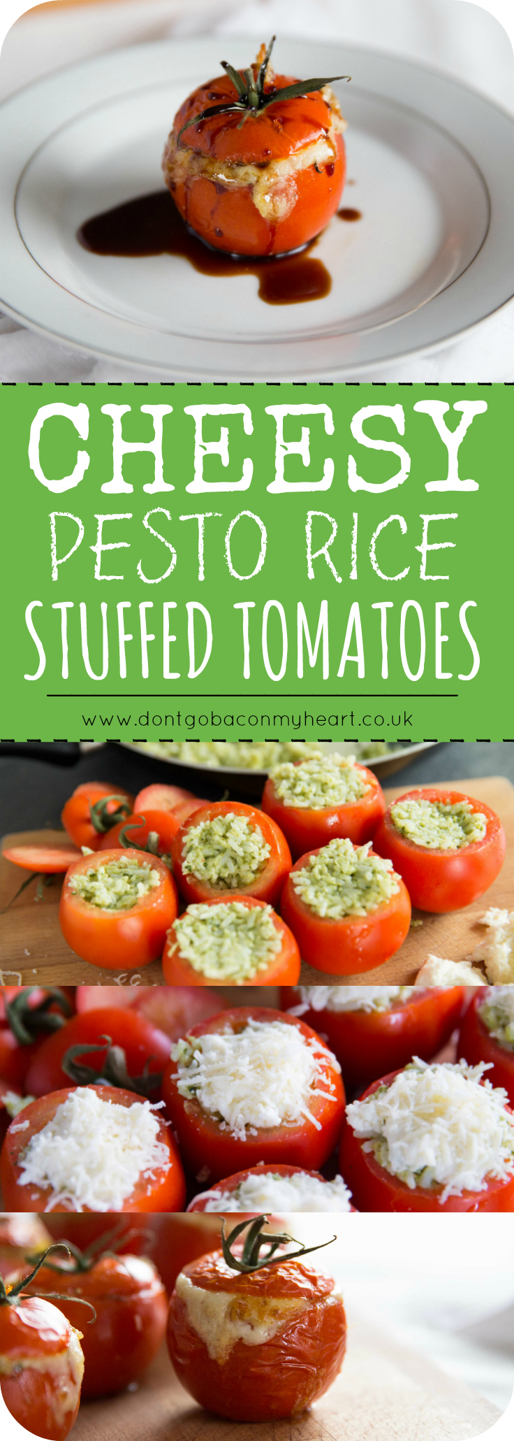 Cheesy Pesto Rice Stuffed Tomatoes are a super fun and incredibly delicious way to use up that jar of pesto you've got knocking about in the fridge. A quick 5-ingredient dinner ready and waiting! #pesto #tomato #cheese #cheesy | www.dontgobaconmyheart.co.uk
