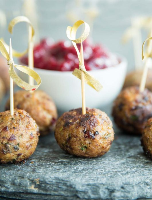 Cranberry Turkey Meatballs with cocktail sticks