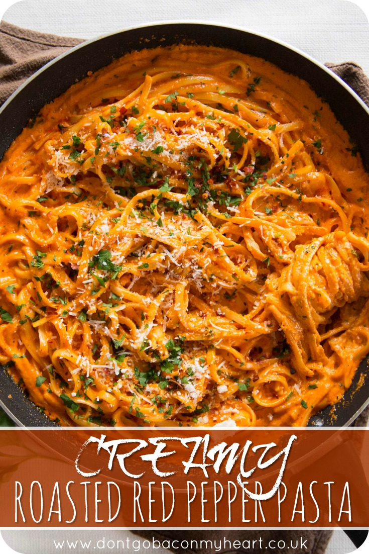This Creamy Roasted Red Pepper Pasta is super quick and seriously delicious. The perfect meal to add to your family rotation dinners! #creamy #pasta #pepper | www.dontgobaconmyheart.co.uk