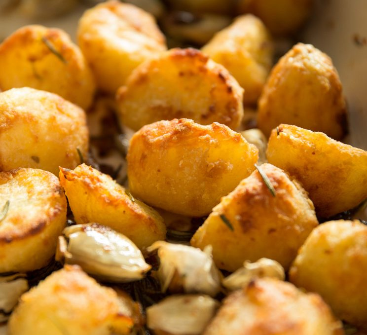 Goose Fat Roast Potatoes - Fresh out the oven closeup