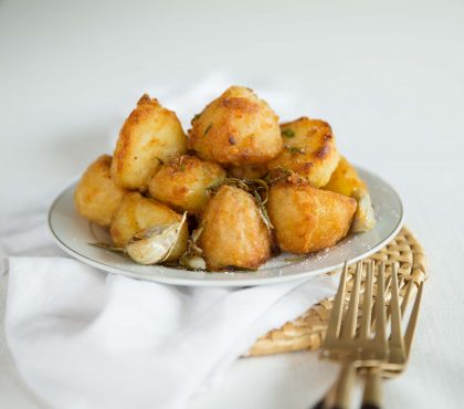 Goose Fat Roast Potatoes - with forks