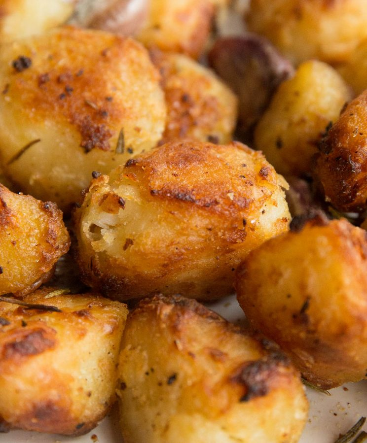 Crispy roast potatoes with goose fat close up