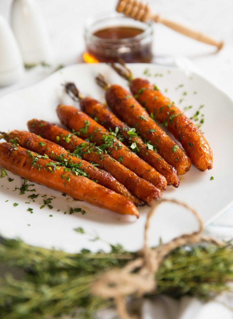 Honey Balsamic Roasted Carrots - Garnished