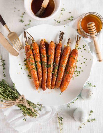Honey Balsamic Roasted Carrots - Overhead shot