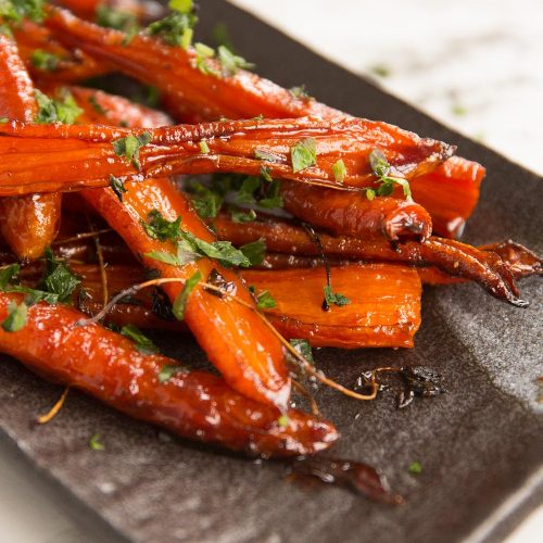 Honey Balsamic Glazed Carrots in the oven