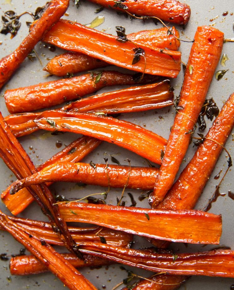Honey Balsamic Roasted Carrots with Thyme fresh out the oven