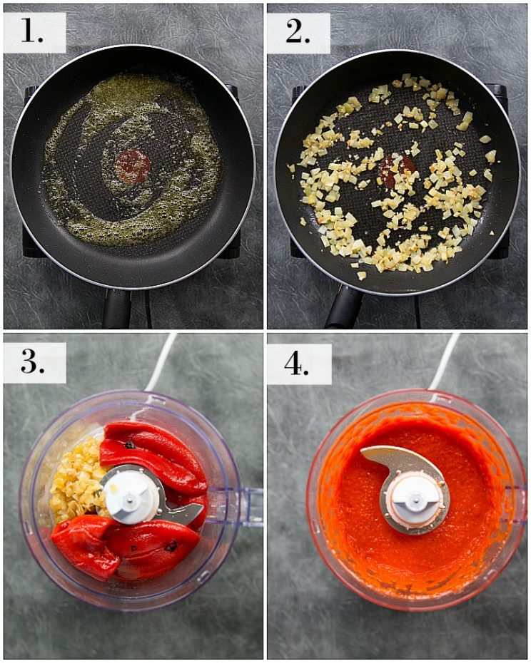 How to make a sauce with roasted red peppers - step by step photos