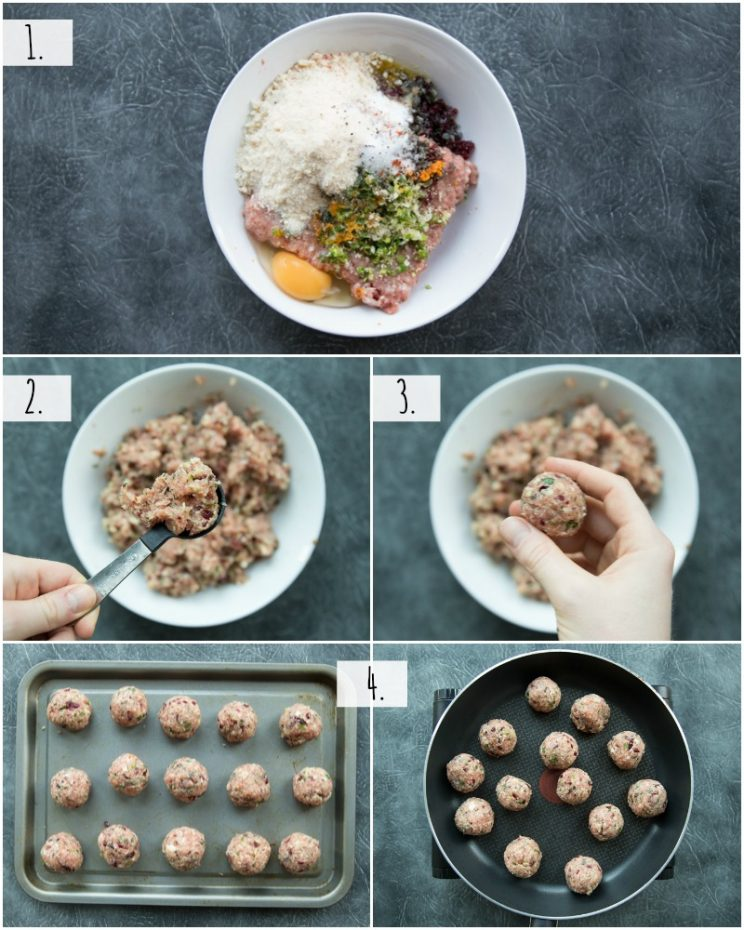 How to make Cranberry Turkey Meatballs - step by step photos