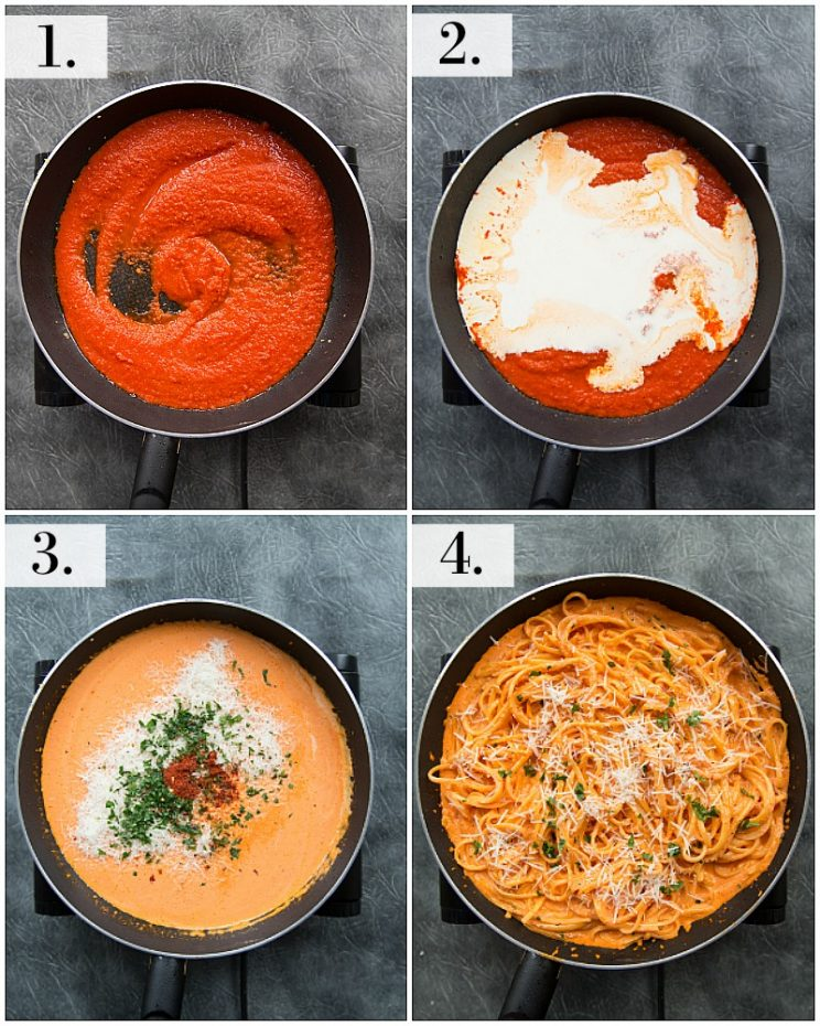 How to make a creamy roasted red pepper pasta sauce - step by step photos