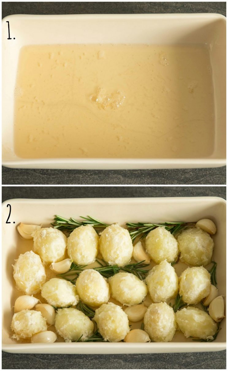 Goose fat roast potatoes with garlic and rosemary