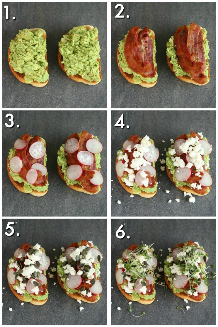 How to make smashed avocado on toast - 6 step by step photos