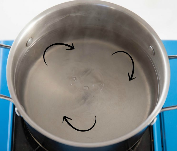 whirlpool of simmering water in large pot