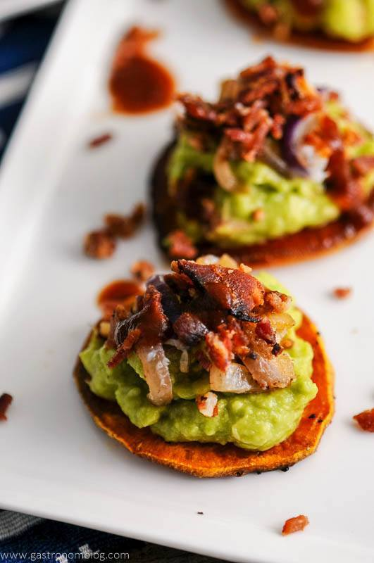 Easy Bacon Appetizers - Sweet Potato Guacamole Bacon Bites