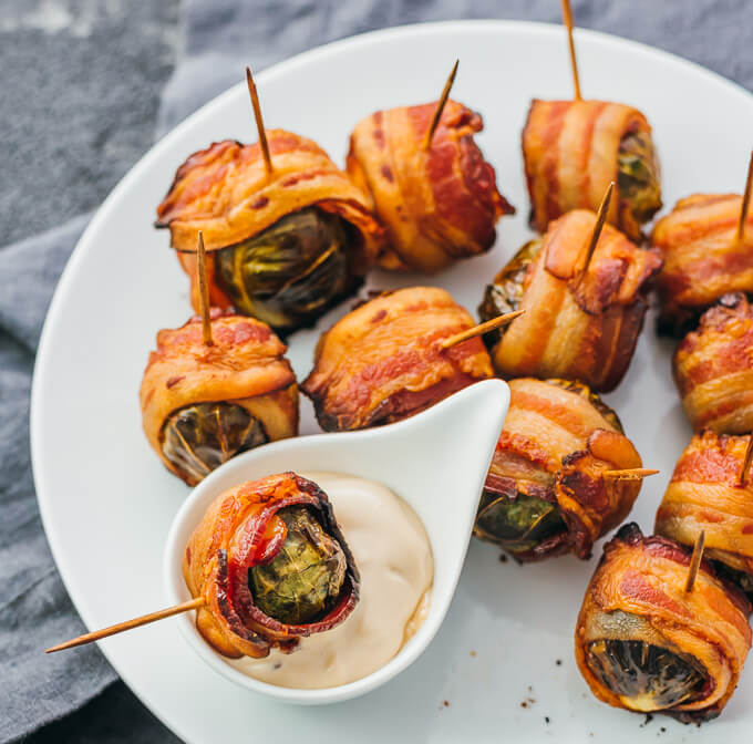 Easy Bacon Appetizers - Bacon Wrapped Brussels Sprouts