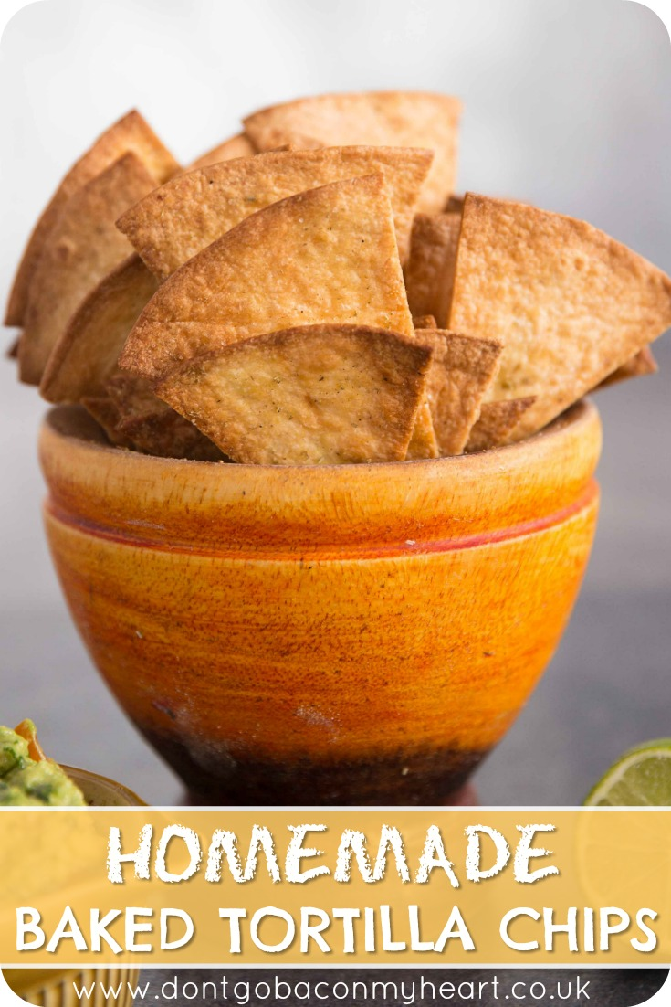 Making your own Homemade Baked Tortilla Chips from scratch couldn't be more simple. With just 3 ingredients, you'll never get store bought again! #tortillachips #chips #nachos | www.dontgobaconmyheart.co.uk